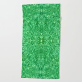 Bright green swirls doodles Beach Towel