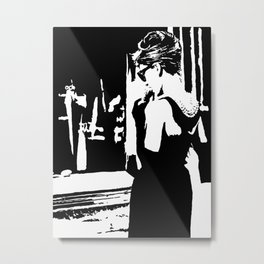 Audrey Hepburn in movie Breakfast at Tiffany's. Black and white portrait, monochrome stencil art Metal Print