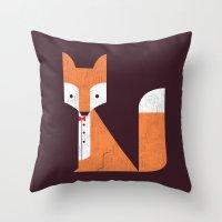 Throw Pillows featuring Le Sly Fox by Picomodi