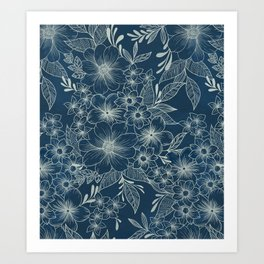 indigo bloom // repeat pattern Art Print