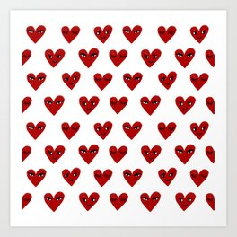 Heart love valentines day gifts hearts with faces cute valentine Art Print