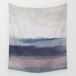 Plum Purple Navy Lavender Blue Abstract Painting Wall Art Prints, Ocean Waves Horizon, Modern Wall Wall Tapestry