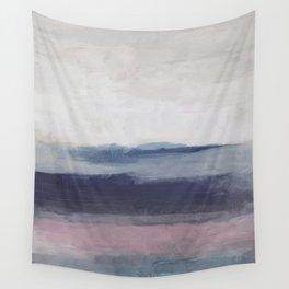 Plum Purple Navy Lavender Blue Abstract Painting Wall Art Prints, Ocean Waves Horizon, Modern Wall Wall Tapestry