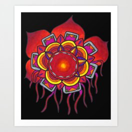 Red Flower Design Art Print