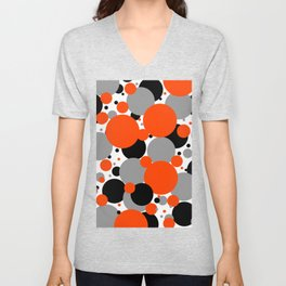 Orange Polka Dots Unisex V-Neck