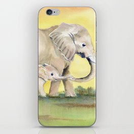 Colorful Mom and Baby Elephant 2 iPhone Skin