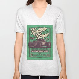 Vintage Style Fictional Halloween Hot Rod Show - Green Unisex V-Neck