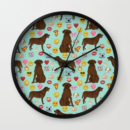 Chocolate lab emoji labrador retrievers dog breed Wall Clock