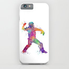 Baseball Player Softball Catcher Colorful Watercolor Sports Artwork iPhone Case