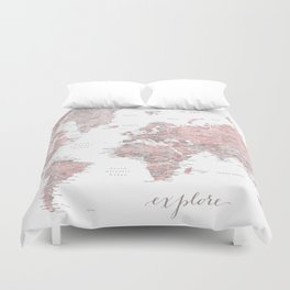 Explore - Dusty pink and grey watercolor world map, detailed Duvet Cover