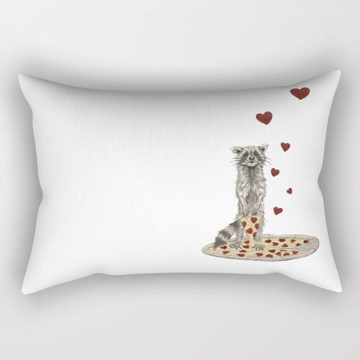 Trash Panda Hearts Pizza Rectangular Pillow