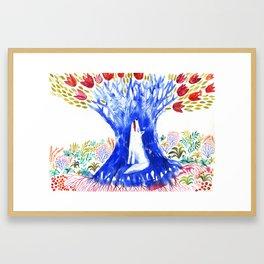 Magic Tree and Wolf Framed Art Print