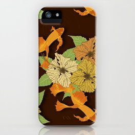 Night Time Goldfish Pond With Hibiscus Pattern iPhone Case