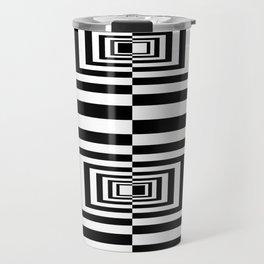 Black And White Geometric Abstract Patten Travel Mug