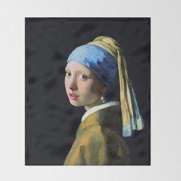 Jan Vermeer Girl With A Pearl Earring Baroque Art Throw Blanket