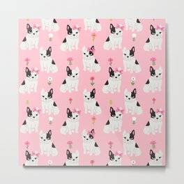 French Bulldog cute puppy pattern baby animals for girls room pink nursery Metal Print