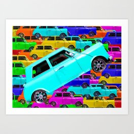 vintage classic car toy pattern background in yellow blue pink green orange Art Print