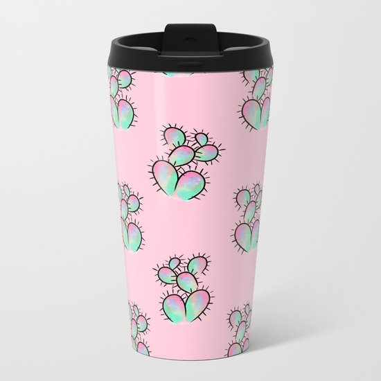 Pop Cactus Pattern Metal Travel Mug