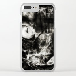 Fractal, Black and White Rex Cat Clear iPhone Case