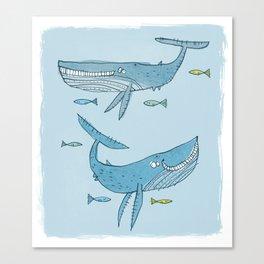 'Whales & Pilot Fish' Canvas Print