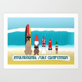 International Surf Competition Dogs Only Art Print