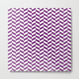 Purple Herringbone Pattern Metal Print