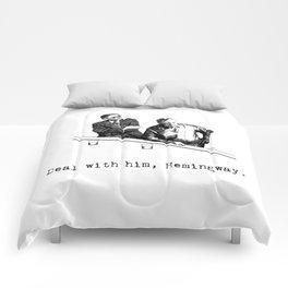 James Joyce x Ernest Hemingway - Drunken Shenanigans Painting Comforters
