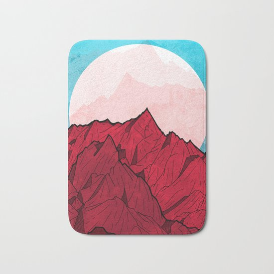 Red mountains under the great moon Bath Mat