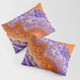 Clemson Orange and Purple Paint Pour Effect Pillow Sham