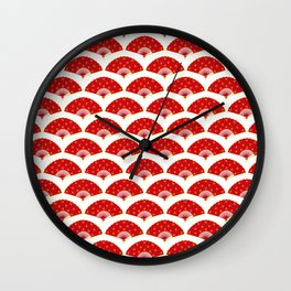 Exotic Red Chinese Dance Fans Pattern on White Wall Clock