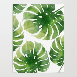 Monstera watercolor I Poster