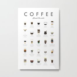 Coffee Chart - Around The World Metal Print