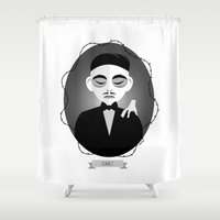 selena gomez Shower Curtains featuring Gomez Addams by Love Ashley Designs