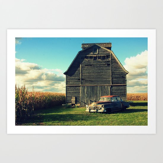 Caddie and Barn Art Print