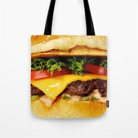 burger Tote Bags featuring Burger by Jamie Danielle