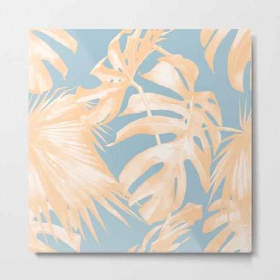 Tropical Leaves Citrus on Ocean Blue Metal Print