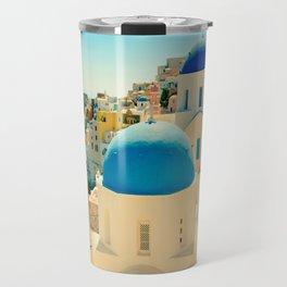 Santorini Greece Famous Blue Domes Travel Mug
