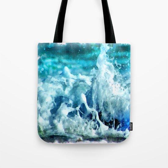 Sea Splash Watercolor Tote Bag