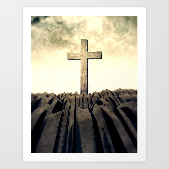 Christian Cross On Mountain Art Print