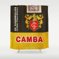 cigarette Shower Curtains featuring Camba - Vintage Cigarette by Fernando Vieira
