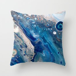 Blue Marbled Fluid Painting Unique Swirls Water Throw Pillow