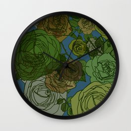 Roses Illustration in Green and Blue Wall Clock