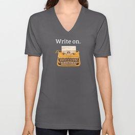 Write On | Writting Books Vintage Typewriter Gifts Unisex V-Neck