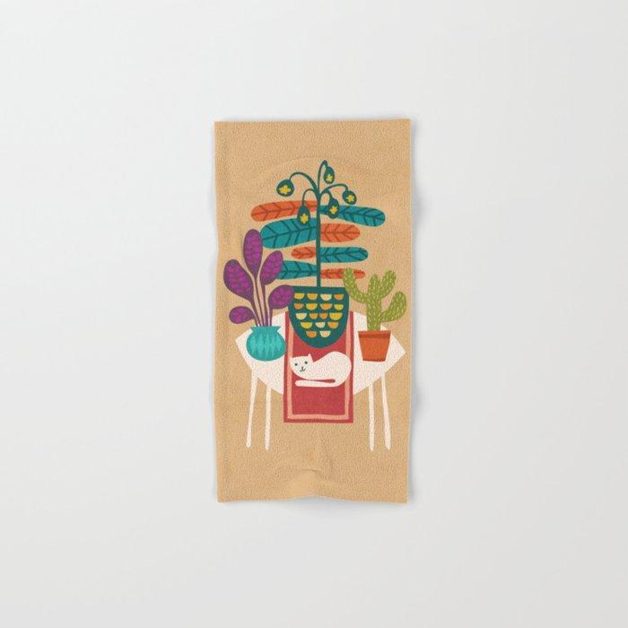 Indoor garden with cat Hand & Bath Towel
