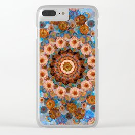 Happy light blue background Clear iPhone Case