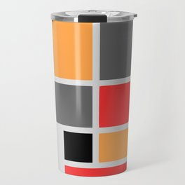 Mondrianista orange red black and gray Travel Mug