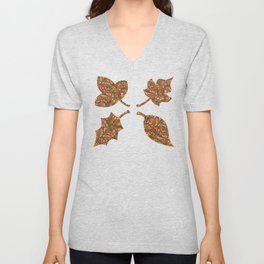 Woodland Forest Floor, Camouflage Plants in Woods Illustration Pattern in Forest Green & Brown Unisex V-Neck