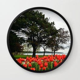 Tulips and the Trees by the Lake Wall Clock