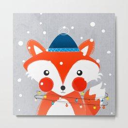 Christmas Fox with fairy lights Metal Print