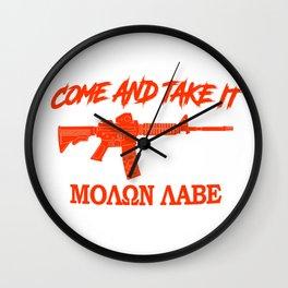 Come and Take It! Molon Labe! Red in Greek. Wall Clock